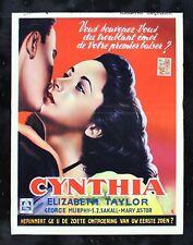 CYNTHIA ✯ CineMasterpieces LIZ ELIZABETH TAYLOR BELGIUM 1947 MOVIE POSTER ✯