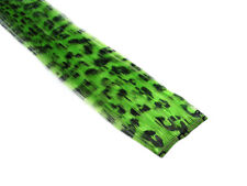 """CLIP-IN 12"""" HAIR EXTENSION GREEN LEOPARD EMO SCENE GOTH PUNK RAVE FUNKY"""