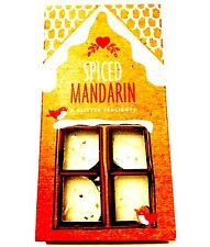 SPiCED MANDARIN GLITTER CANDLES TEA LIGHTS PACK OF 8 - White Glitter