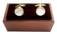 Perlmutt Manschettenknöpfe rund vergoldet glänzend MK0445-2 + brauner Box