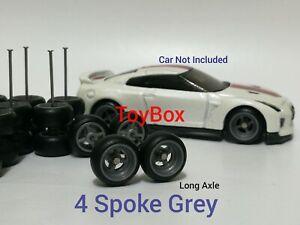 Custom Wheels HOT WHEELS RUBBER WHEELS TIRES 10 SETS 1/64 4 Spoke 10mm Grey