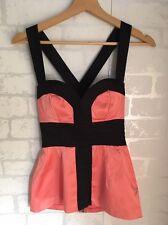 ELISE RYAN Women's Size 8 Orange Black Party Top Crossover Back <L4835