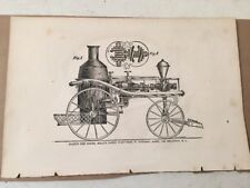 Antique Advertising Print Bookplate Silsby's Fire Engine Hollys Patent Pump