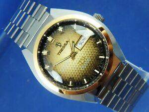Tressa Lux Crystal Automatic Watch 1970s Vintage Retro Swiss NOS Cal AS 5206