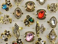 45pcs De gros mixte Lots Faux diamant verre fête anneaux Bijoux Dame Bagues