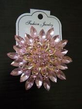 Classic Crystal Rhinestone Big Daisy Flower Brooches for Women in Pink