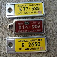 Lot of 3 1960's WISCONSIN DAV Tags Key-chain License Plate Vintage DISABLED VET
