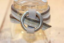 Armband NEU Armschmuck silber Grau Leder Nickel Frei elegant trendy Schlaufe