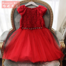 US STOCK ! Toddler Kids Baby Girls Red Lace Wedding Party Pageant Dress K61
