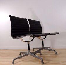 Vintage Mid Century Herman Miller Black Vinyl Aluminum Group Swivel Chair
