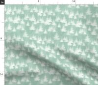 Green Forest Tree Winter Snow Holiday Christmas Spoonflower Fabric by the Yard