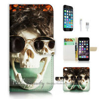 ( For iPhone 7 ) Wallet Case Cover P3092 Skull