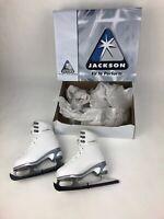 Soft Skate by Jackson 180 Size 9J EUR 24 JPN 14 Figure Skates All White w Gray
