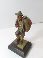 Exceptional vintage,Old Black Forest,Anri? Wood Carved Figure On Weighted Base,