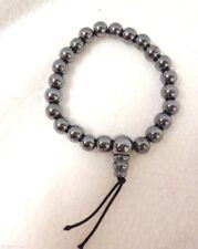 "Nwot Better World Goods Shiny Gray Karma Bead Bracelet Stretch 8"" 1/4"" Beads"