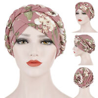 Women's Floral Chemo Cap Cancer Hat Muslim Hair Scarf Turban Hijab Head Wrap Tre