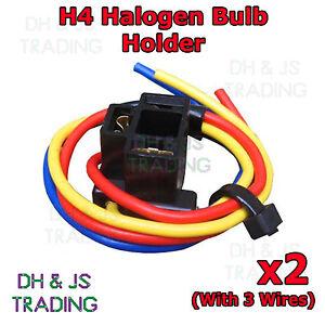 2x H4 Halogen Bulb Holder 3 Wire Car Auto Van Headlight Connector 472 Holders