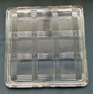 "Vintage Hazel Atlas Criss Cross Design 8.5"" Square Refrigerator Dish LID ONLY"