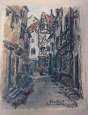 Rue des Orfèvres. Moulins (Allier) Patrimoine de France. Peinture de Maurice Moy