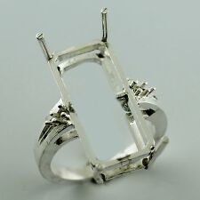 Semi Mount 22x10 MM Ring Octagon Shape Genuine 925 Silver Authentic Gift Jewelry