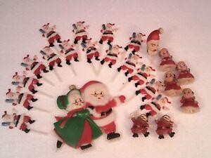 Vintage Christmas Cake Decorations Toppers Cupcake Picks Santa Lot Of 24