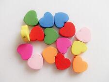 20pz misti  perline in legno cuore 18x15mm colore vari