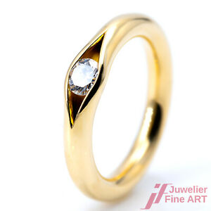 Ring Solitaire Engagement Niessing 750/18K Yellow Gold 1 Brilliant Size 51