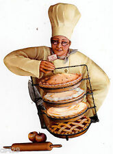 "7.5"" Fat chef apple pie kitchen prepasted wall border cut out character"