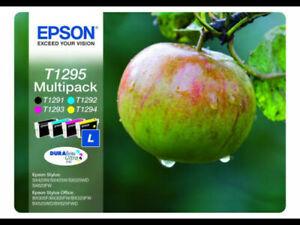 BNIB/SEALED GENUINE Epson T1295 MultipacB/C/M/Y Ink Cartridges-L- 3x7ml+1x11.2ml