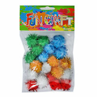 Pretty Coloured Pom Poms With Glittery Decoration 2.5cm - Assorted Colours - UK
