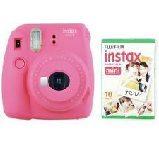 Instax Mini 9 Cámara con 10 disparos de Impresión de tamaño tarjeta de crédito instantáneo Rosa Intenso