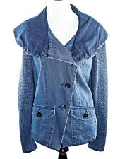 Blue Willi's Danish Design Women's Small Blue Button Up Blacker Jacket Cotton