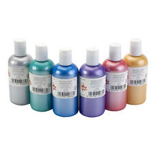 SET 6 x 300ml PEARLESCENT COLOUR FABRIC TEXTILE PAINTS METALLIC PEARL FINISH DYE