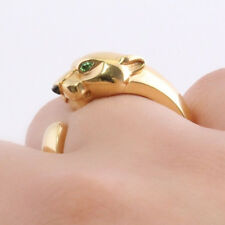PANTHER PEAR EMERALD 925 STERLING SILVER WEDDING ENGAGEMENT WOMEN ANIMAL RING
