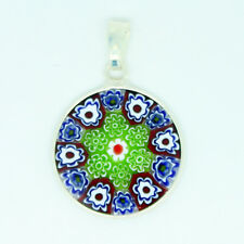 Murano Glass Pendant Venice Handmade Sterling Silver Round Various Colours 18mm