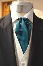 Pre-Tied Adjustable Classic Cravat, Teal Wedding, Formal, Prom