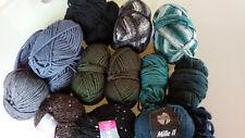 Wollreste,Mützenwolle,blau/grau/grün/ schwarz, u.a. Lana Grossa, 900g