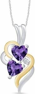 Simulated Alexandrite Double Swirl Heart Pendant Prong Set 925 Sterling Silver