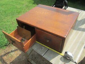 "Dovetailed ""Library Bureau"" 2 Drawer Oak Wood Card Catalog Index File Box  - EC"
