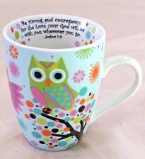 Owl Coffee Mug Joshua 1 9 Be Strong and Courageous Christian Coffee Mug Green
