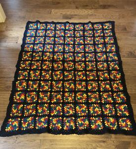 "Vintage Granny Square Crochet Afghan Blanket Throw 73"" x 57"""