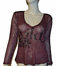 Hang Ten Maroon Wild @ At Heart Long Sleeve Mesh Size S Sweater Top Red Purple
