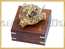 """3"""" Brass Sundial Compass Antique Vintage Style Nautical Maritime W Box Hiking"""