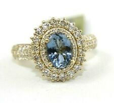 Oval Aquamarine & Diamond Halo Solitaire Ring 14k Yellow Gold 2.49Ct