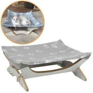 Elevated Indoor Calming Warm Soft Fleece Cat Kitten Pet Paw Print Bed 43 x 43 cm