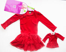 "NWT Dollie & Me Red Velour Lace Dress Matching 18"" doll Christmas Sz. 5"