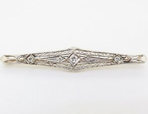 .Antique 14K Yellow & white Gold 0.31ct Old Cut Diamond Set Bar Brooch Val $2900