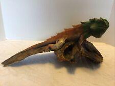 vtg carved wood iguana on log