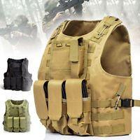 Tactical Vest Adjustable Military Army Molle Combat Police SWAT Plate Carrier