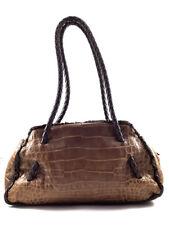 FURLA Croc Embossed Brown Leather Shoulder Bag, Women's